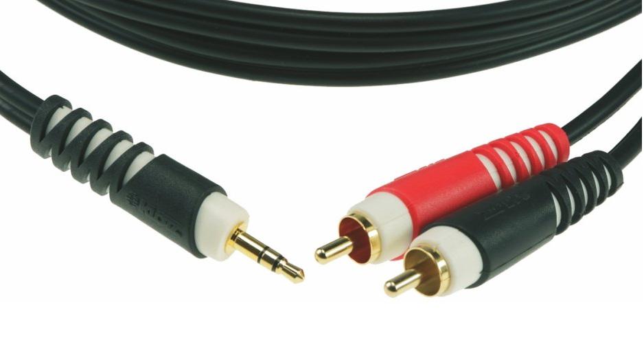 KLOTZ AY7-A0300 Y-Kabel Chinch 3,5 Stereo WKl 3m