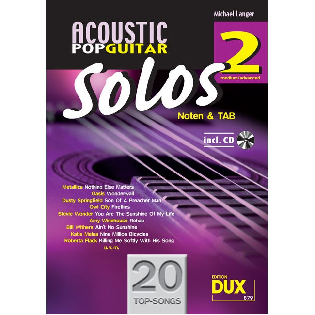 ANCORA Acoustic Pop Guitar Solos 2 /CD, M. Langer Noten und TAB - medium/advanced