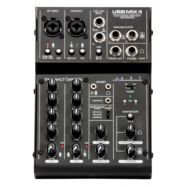ART AUDIO USBMix4 Analoges Kompaktmischpult mit USB-Audiointerface