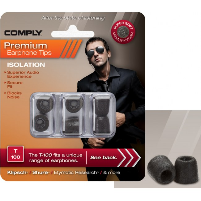 COMPLY T-100 M BK Earphone Tips 3 Pack Ohrpassstücke für in-Ear-Monitoring, schwarz