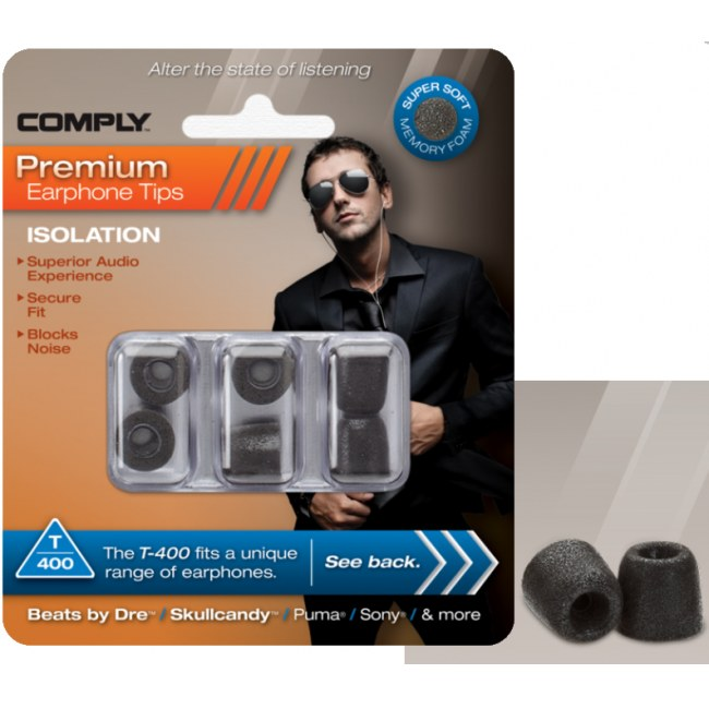 COMPLY T-400 M BK Earphone Tips 3 Pack Ohrpassstücke für in-Ear-Monitoring, schwarz