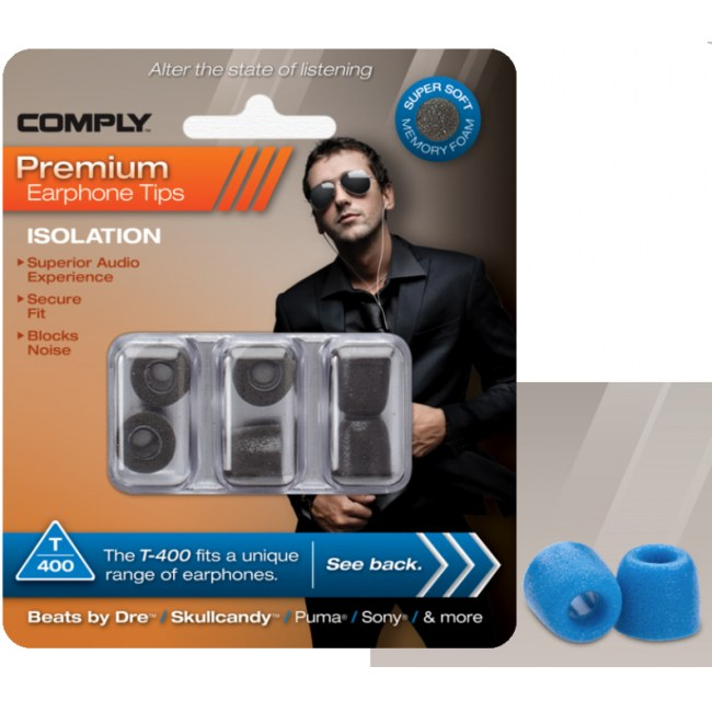 COMPLY T-400 M BL Earphone Tips 3 Pack Ohrpassstücke für in-Ear-Monitoring, blau
