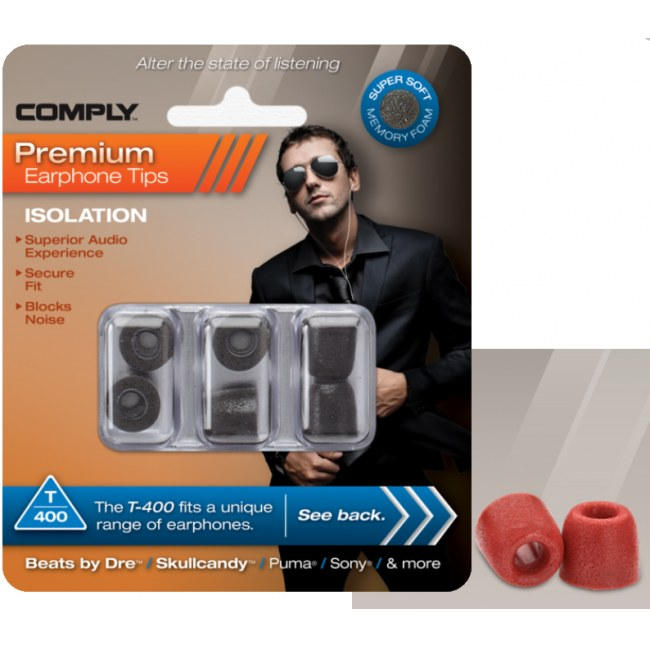 COMPLY T-400 L RD Earphone Tips 3 Pack Ohrpassstücke für in-Ear-Monitoring, rot