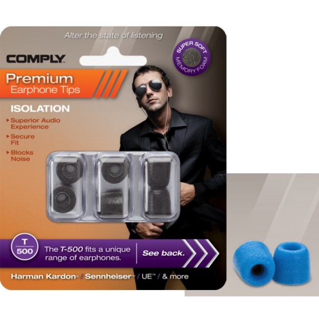 COMPLY T-500 M BL Earphone Tips 3 Pack Ohrpassstücke für in-Ear-Monitoring, blau