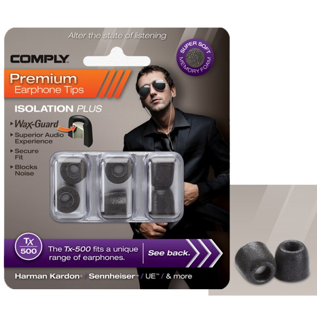 COMPLY TX-500 L BK Earphone Tips 3 Pack Ohrpassstücke für in-Ear-Monitoring, schwarz