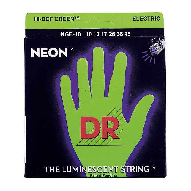 DR STRINGS NGE-10 Neon Green Electric 010-046 Nickel Plated Steel. Saiten E-Gitarre