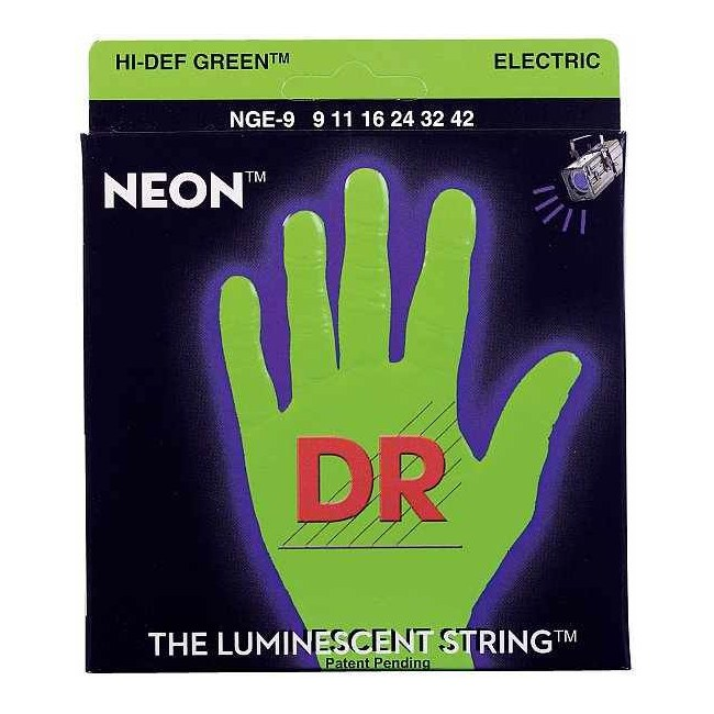 DR STRINGS NGE-9 Neon Green Electric 009-042 Nickel Plated Steel. Saiten E-Gitarre