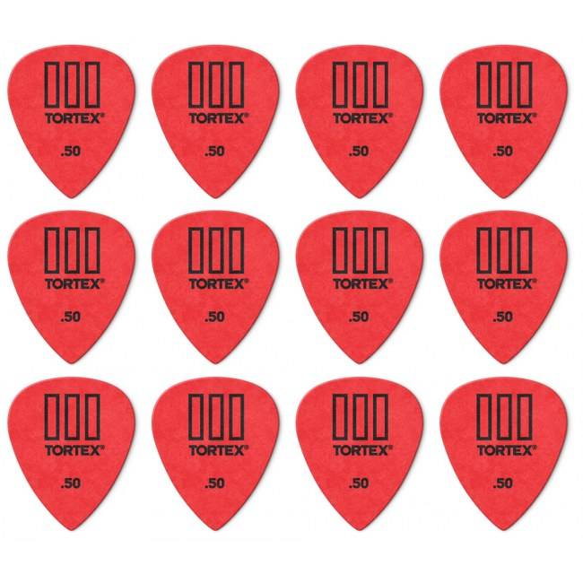 JIM DUNLOP 462P Tortex TIII Players Pack 0,50mm Plektrum (12 Stück), rot