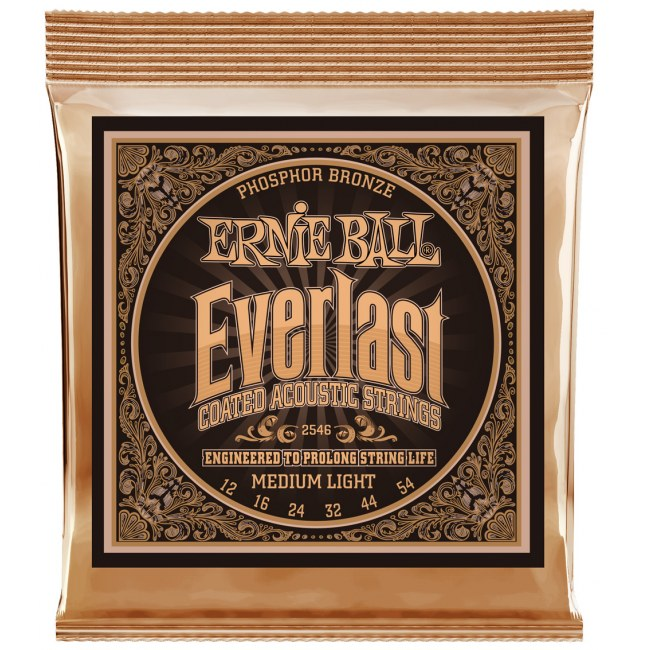 ERNIE BALL 2546 Everlast Coated Medium 012-054 Phosphor Bronze Coated, Saiten für Westerngitarre