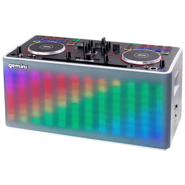 GEMINI MIX2GO aktiv (Akku) 2x5Zoll/50Watt All-In-One DJ System mit Bluetooth/Aux/LED/Akku