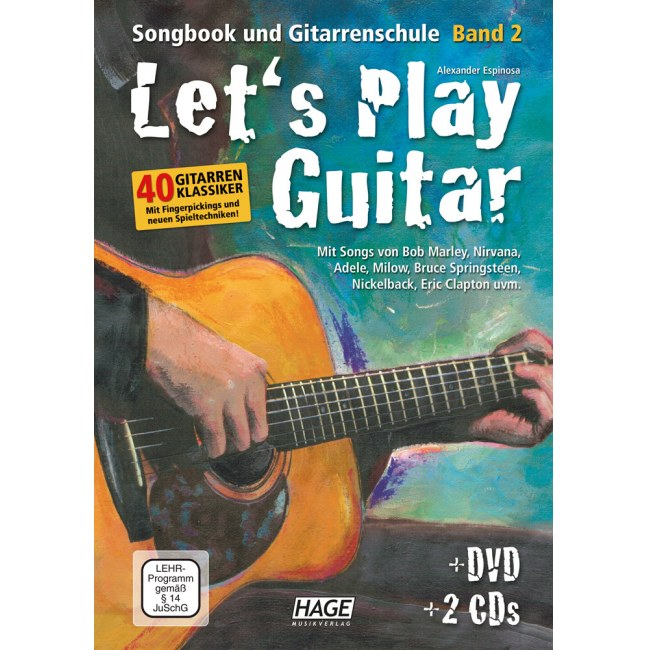 HAGE Lets Play Guitar 2 /CD/DVD EH 3757, Songbook und Gitarrenschule
