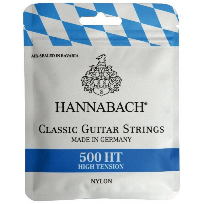 HANNABACH 500 HT High Tension Blue Label E1-E6 Saiten für Konzertgitarre, Nylon