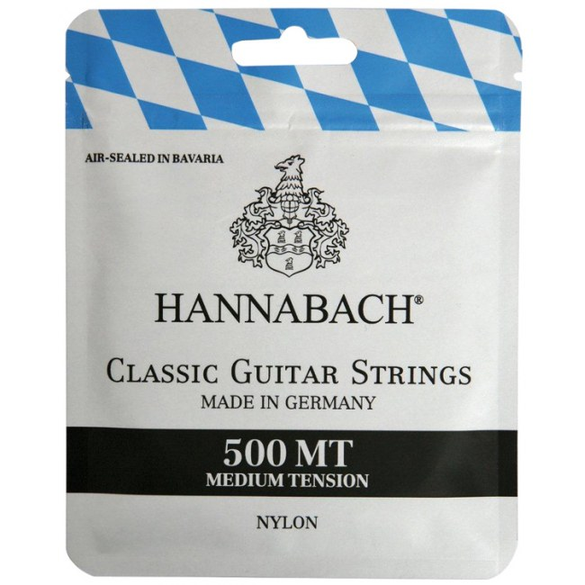HANNABACH 500 MT Medium Tension Black Label E1-E6 Saiten für Konzertgitarre, Nylon