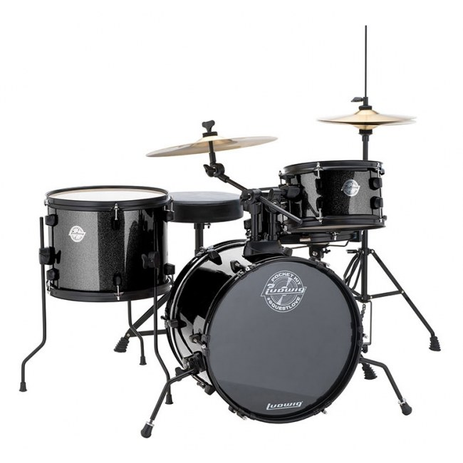 LUDWIG LC178X016 Questlove Pocket Kit 16-10-13-12 Drumset 4-tlg. Hardware/Becken, blk sparkle