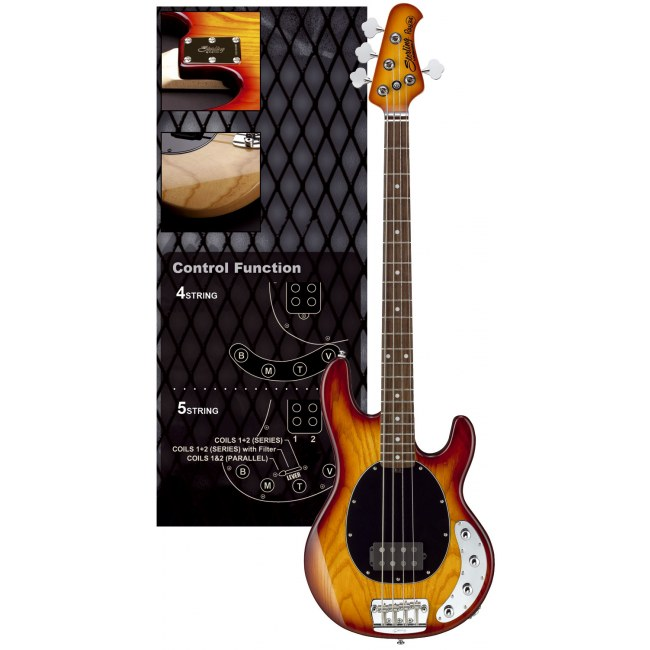 STERLING by Music Man RAY-34 HB RW Stingray 4-saitiger E-Bass inkl. Gigbag, honey burst