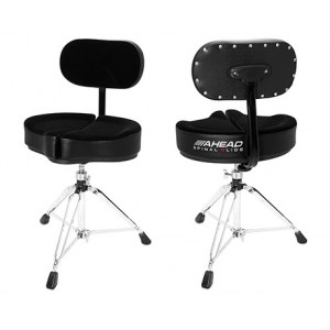 AHEAD SPG-BBR Black Spinal-G Drum Throne 3 Drumhocker mit Lehne, Sattel Veloursitz, schwarz