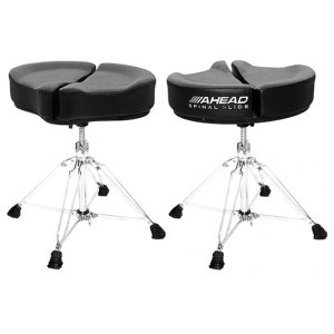 AHEAD SPG-BL4 Black Spinal-G Drum Throne 4 Drumhocker, Sattel Veloursitz, schwarz