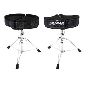 AHEAD SPG-BS3 Black/Sparkle Spinal-G Drum Throne Drumhocker, Sattel Veloursitz, schwarz/sparkle