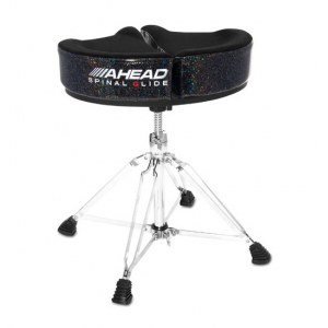 AHEAD SPG-BS4 Black/Sparkle Spinal-G Drum Throne 4 Drumhocker, Sattel Veloursitz, schwarz/sparkle