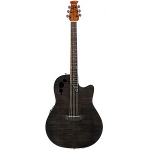 OVATION AE44IIP-TBKF Applause Roundback Elektro-Akustik-Gitarre, transparent black flame