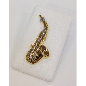 ART OF MUSIC Anstecker Saxophon gross Gold Modeschmuck
