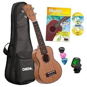 CASCHA HH 2027 GB Premium Mahogany Soprano Ukulele incl. Ukulele method, tuner, bag, 3 picks