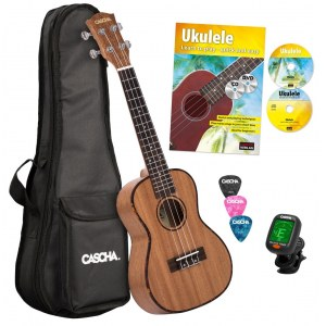 CASCHA HH 2036 GB Premium Mahogany Concert Ukulele with ukulele method, Tuner, Bag, 3 Picks