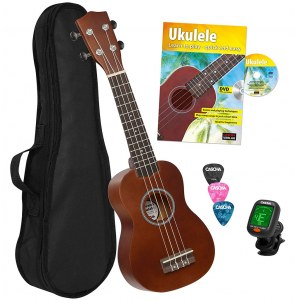 CASCHA HH 3956 GB Soprano Ukulele with Ukulele Method, Tuner, Bag, Picks