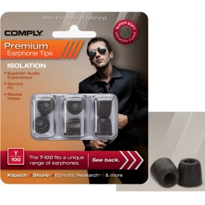 COMPLY T-100 L BK Earphone Tips 3 Pack Ohrpassstücke für in-Ear-Monitoring, schwarz
