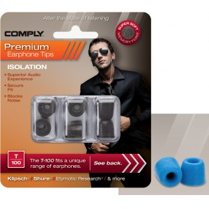 COMPLY T-100 M BL Earphone Tips 3 Pack Ohrpassstücke für in-Ear-Monitoring, blau