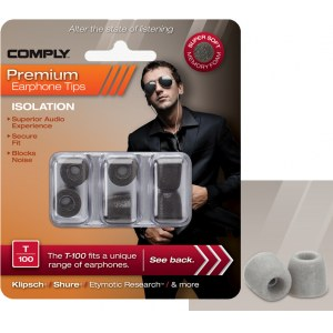 COMPLY T-100 M PL Earphone Tips 3 Pack Ohrpassstücke für in-Ear-Monitoring, platinum