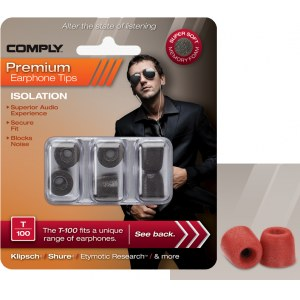 COMPLY T-100 M RD Earphone Tips 3 Pack Ohrpassstücke für in-Ear-Monitoring, rot