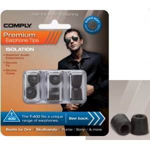 COMPLY T-400 L BK Earphone Tips 3 Pack Ohrpassstücke für in-Ear-Monitoring, schwarz