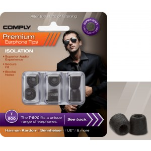 COMPLY T-500 L BK Earphone Tips 3 Pack Ohrpassstücke für in-Ear-Monitoring, schwarz