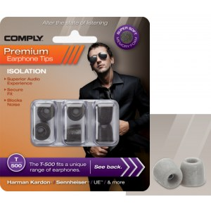 COMPLY T-500 M PL Earphone Tips 3 Pack Ohrpassstücke für in-Ear-Monitoring, platinum
