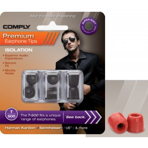 COMPLY T-500 M RD Earphone Tips 3 Pack Ohrpassstücke für in-Ear-Monitoring, rot