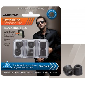 COMPLY TX-400 M BK Earphone Tips 3 Pack Ohrpassstücke für in-Ear-Monitoring, schwarz
