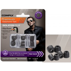 COMPLY TX-500 S/M/L Mix Earphone Tips 3 Pack Ohrpassstücke für in-Ear-Monitoring, schwarz