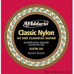 DADDARIO EJ27N-3/4 Normal Tension E1-E6 Classic Guitar Strings. Saiten für Konzertgitarre