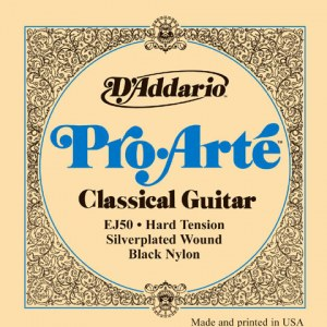DADDARIO EJ50 Pro Arte Hard Tension Black E1-E6 Classic Guitar Strings. Saiten für Konzertgitarre