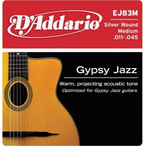 DADDARIO EJ83M Gypsy Jazz Medium 011-045 Silver Wound Strings. Saiten für Jazzgitarre