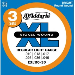 DADDARIO EXL110-3D Regular Light 010-046 Nickelplated Steel Round Wound. Saiten E-Gitarre
