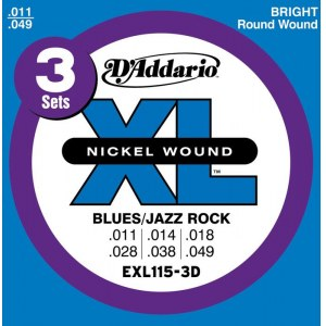 DADDARIO EXL115-3D Blues/Jazz Rock 011-049 Nickelplated Steel Round Wound. Saiten E-Gitarre