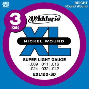 DADDARIO EXL120-3D Super Light 009-042 Nickelplated Steel Round Wound. Saiten E-Gitarre