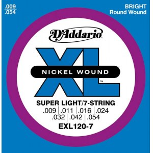 DADDARIO EXL120-7 Super Light 009-054 Nickelplated Steel Round Wound. Saiten E-Gitarre
