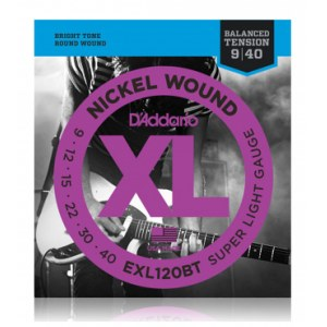 DADDARIO EXL120BT Balanced Tension 009-040 Nickel Wound, Super Light, Saiten für E-Gitarre