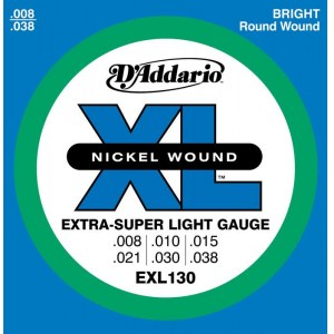DADDARIO EXL130 Extra-Super Light 008-038 Nickelplated Steel Round Wound. Saiten E-Gitarre