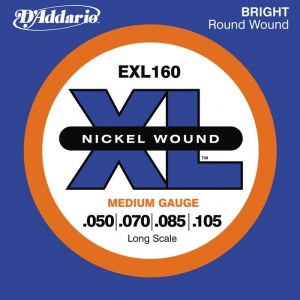 DADDARIO EXL160 Medium/Long Scale 050-105 Nickelplated Steel Round Wound. Saiten für E-Bass