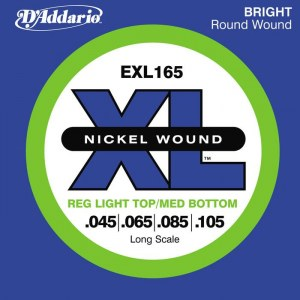 DADDARIO EXL165 Reg Light/Medium/Long 045-105 Nickelplated Steel Round Wound. Saiten für E-Bass