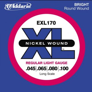 DADDARIO EXL170 Regular Light/Long Scale 045-100 Nickelplated Steel Round Wound. Saiten für E-Bass